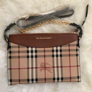 Burberry Soft Grain Haymarket Peyton Crossbody Bag